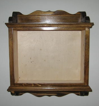 Assembled, stained cabinet